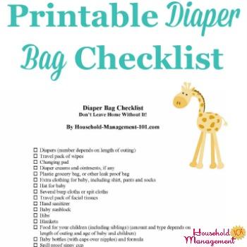 Printable diaper bag checklist