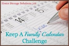 oKeep a family calendar challenge