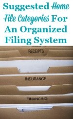 Suggested home file categories for an organized filing system
