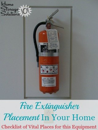 Guidelines for fire extinguisher placement throughout your home so you always have this vital equipment in the places you need it most {on Home Storage Solutions 101} #FireSafety #SafetyTips #EmergencyPreparedness