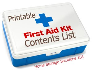 Just grabbed my copy of this free #printable first aid kit contents list, so I make sure I have what my family needs for minor medical emergencies {courtesy of Home Storage Solutions 101} #FirstAidKit #HomeStorageSolutions101