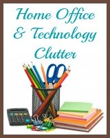 home office and technology clutter