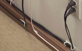 home office cord organization with command strips