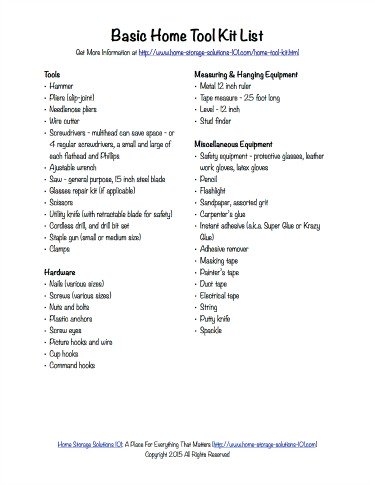 Free printable home tool kit list, courtesy of Home Storage Solutions 101
