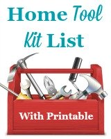 Home tool kit list, with free printable