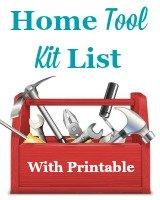 Home tool kit list, with free printable