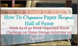 how to organize paper recipes hall of fame