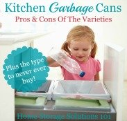 pros and cons of the different varieties of kitchen garbage cans