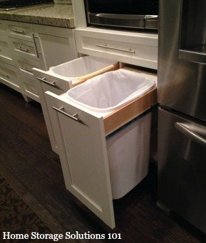 hidden kitchen trash cans