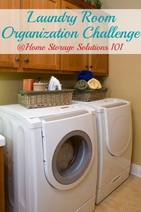 Step by step instructions for laundry room organization so it is functional, efficient, and fun to be in {part of the 52 Week Organized Home Challenge on Home Storage Solutions 101} #LaundryRoomOrganization #OrganizedHome #LaundryRoom