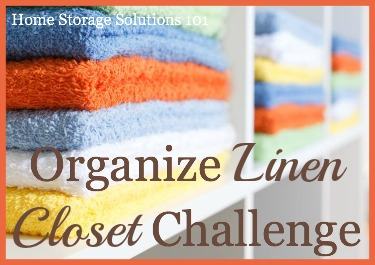 Step by step instructions for how to organize a linen closet or cabinet, including organizing sheet sets, towels, comforters, blankets and table linens {part of the 52 Week Organized Home Challenge on Home Storage Solutions 101}