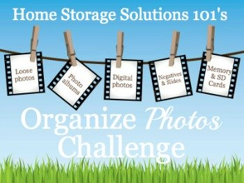 How to organize photos, including loose photos, photo albums, digital photos, negatives, and more in this week's 52 Weeks to an Organized Home Challenge {on Home Storage Solutions 101} #OrganizePhotos #OrganizePhotographs #PhotoOrganization