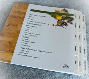 pre-printed index tabs for recipe binder
