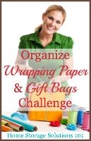 organize wrapping paper and gift bags challenge