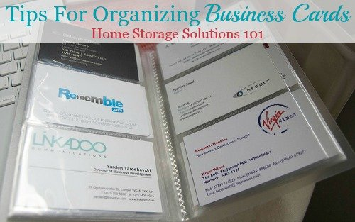Tips for organizing business cards of service providers and repair people for use around your home or personal use {on Home Storage Solutions 101}