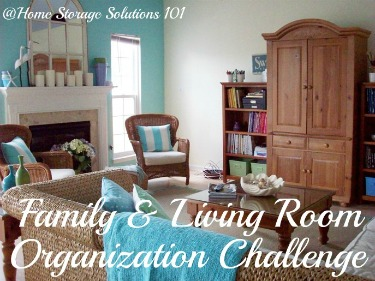 Step by step instructions for organizing your living room and family room, using the concept of centers or stations {on Home Storage Solutions 101}