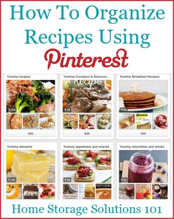 Here are tips and tricks for #organizing recipes on Pinterest, so you can always find the recipes you're looking for on your boards {on Home Storage Solutions 101} #RecipeOrganization #OrganizingTips