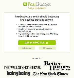 Pear Budget screen shot