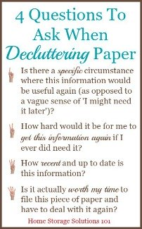 4 questions to ask when decluttering paper
