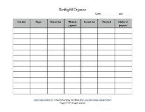 printable monthly bill organizer