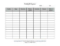 printable monthly bill organizer