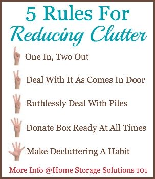 Follow these 5 rules for reducing clutter and your clutter will slowly disappear from your home. {on Home Storage Solutions 101}