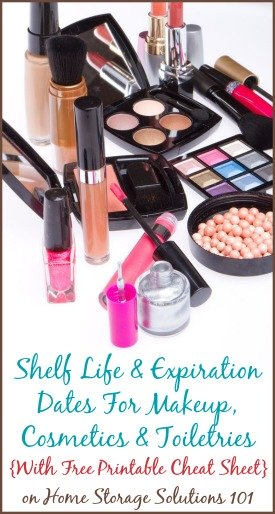 Helpful information about the shelf life and expiration dates of makeup, cosmetics and toiletries, plus a free printable cheat sheet {on Home Storage Solutions 101}