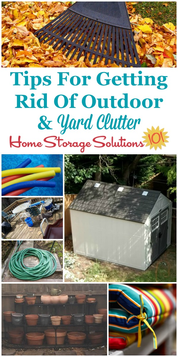 Tips for getting rid of outdoor and yard clutter, including a round up of Declutter 365 missions and articles {on Home Storage Solutions 101} #YardClutter #Declutter365 #OutdoorClutter