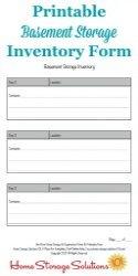 Basement Storage Inventory Form