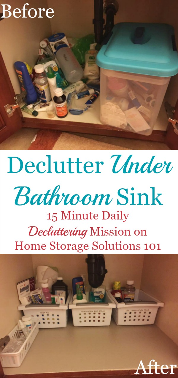How to declutter under your bathroom sink cabinet, including tips for how to dispose of common items you may find there, and lots of before and after photos from readers who've done this #Declutter365 mission {on Home Storage Solutions 101}