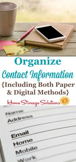 Ideas for how to organize contact information both with paper and digitally, shown by readers in this Hall of Fame for the Contact Information Organization Challenge {on Home Storage Solutions 101}