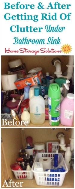 How to get rid of clutter under your bathroom sink, with lots of before and after photos {on Home Storage Solutions 101}