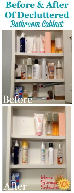 Before and after of decluttered bathroom cabinets {featured on Home Storage Solutions 101}
