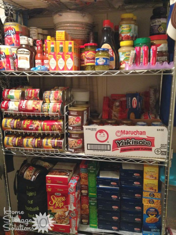 Food stockpile organized to make sure it is rotated so nothing goes to waste {featured on Home Storage Solutions 101}