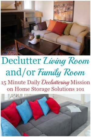 How to declutter your living room or family room 15 minutes at a time {one of the Declutter 365 missions on Home Storage Solutions 101} #DeclutterLivingRoom #DeclutterFamilyRoom #Declutter365