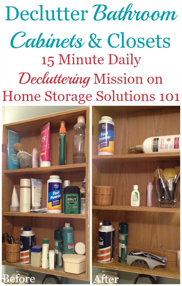 How to declutter bathroom cabinets and closet shelves, including lots of before and after photos from readers who've done this #Declutter365 mission {on Home Storage Solutions 101}