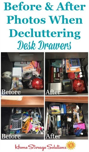 Before and after photos from a reader, Jana, who did the #Declutter365 mission to declutter her desk drawers {on Home Storage Solutions 101}