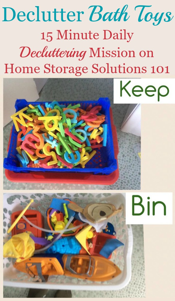 How to declutter bath toys, plus several pictures from readers who've done this simple #Declutter365 mission to get you inspired to do it yourself! {on Home Storage Solutions 101}