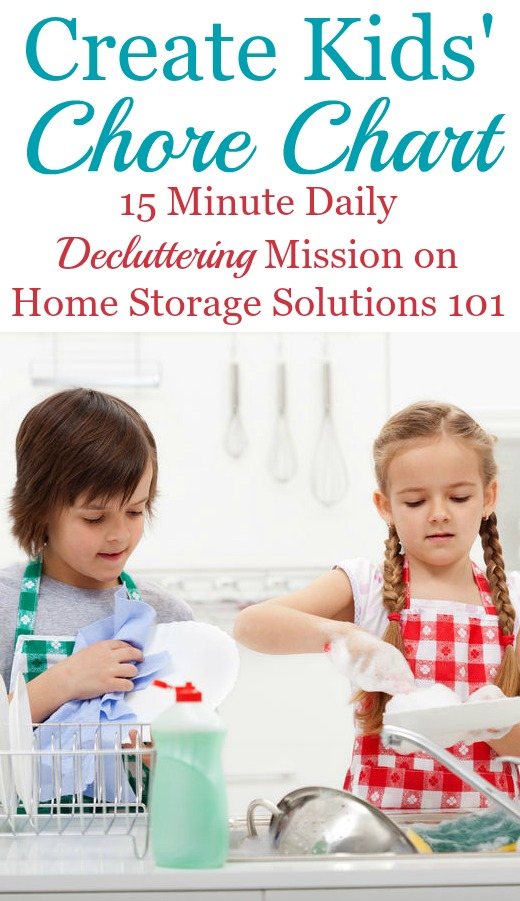 How and why to create a kids' chore chart to get kids involved in household responsibilities, plus lots of real life examples of these charts in people's homes {on Home Storage Solutions 101}