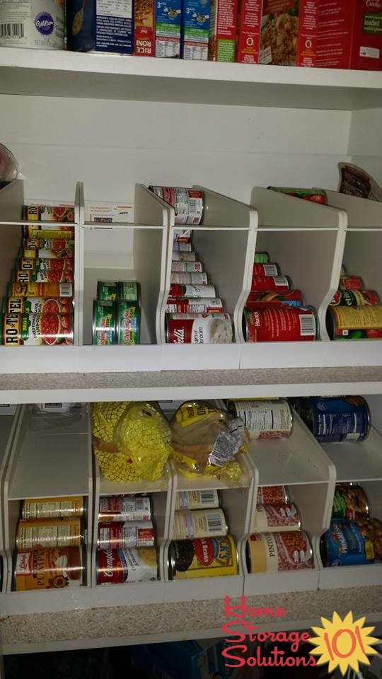 Can storage racks in pantry, to help with can rotation {featured on Home Storage Solutions 101}