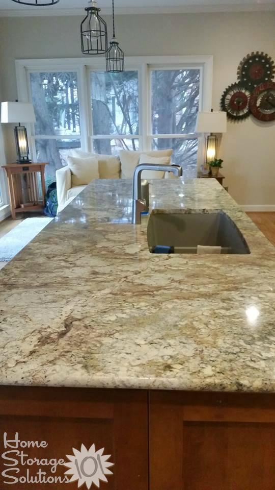 Decluttered kitchen island from a reader, Jill, featured on Home Storage Solutions 101.