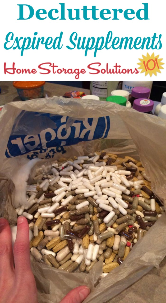 Vitamins and supplements can expire, so make sure you periodically get rid of these older items from your home {on Home Storage Solutions 101} #Declutter365 #Decluttering #Declutter