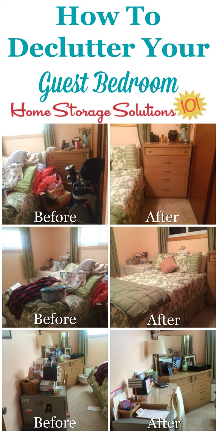 How to declutter your guest bedroom so that your guests will enjoy their stay in your home, plus the spare room can also be used for other purposes the rest of the time {on Home Storage Solutions 101}