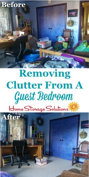 Tips for removing clutter from a guest bedroom to make it usable for guests and also for any other purposes you'd like to use your spare room {on Home Storage Solutions 101}