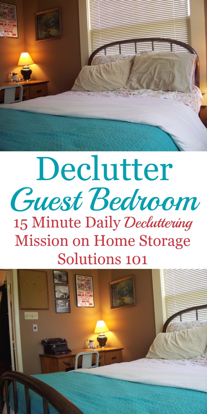 Guest bedroom declutter mission, with instructions for how to clear the clutter from your guest room or spare room, as well as before and after photos from readers who've already done it to get you inspired {Declutter 365 mission on Home Storage Solutions 101}