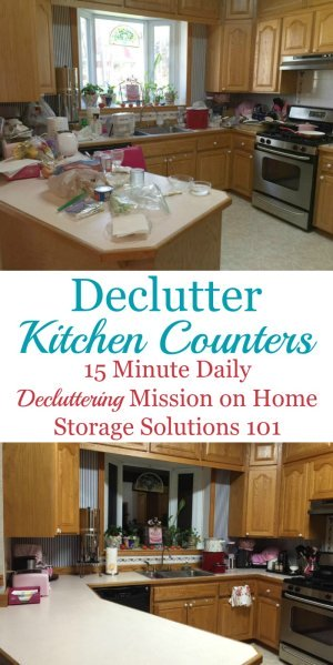 How to #declutter your kitchen counters, and then develop the habits to keep them that way, including three types of counter clutter {a #Declutter365 mission on Home Storage Solutions 101} #decluttering