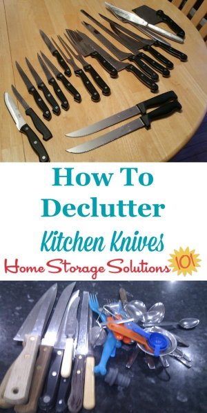 How to declutter kitchen knives, as well as other utensils and kitchen gadgets {a #Declutter365 mission on Home Storage Solutions 101}