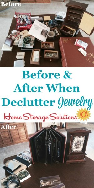 Tips for how to declutter jewelry, including questions to ask when making these decisions and strategies for decluttering sentimental jewelry {on Home Storage Solutions 101}