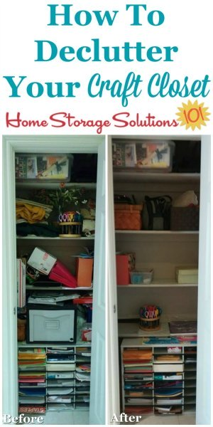How to #declutter your craft closet or crafting area, so that you can find your needed supplies and equipment more easily and enjoy crafting more {on Home Storage Solutions 101} #Decluttering #CraftOrganization