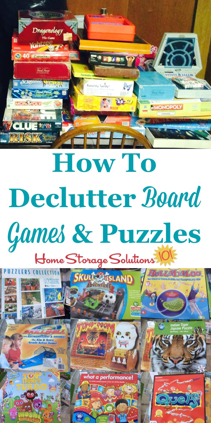 How to declutter board games, puzzles and card games {part of the #Declutter365 missions on Home Storage Solutions 101}